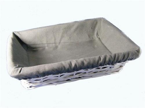 Rietenmandje rechthoek met grijze stof