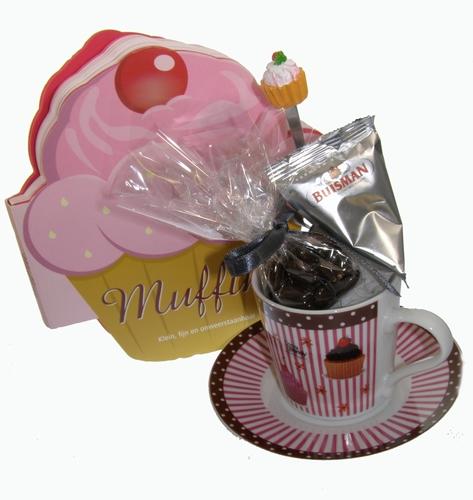 Muffin kop en schotelgeschenk