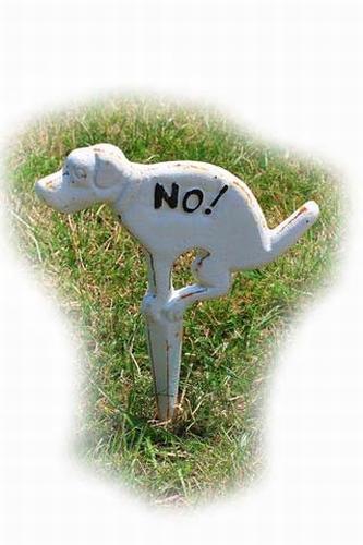 Tuinbordje No dogs van gietijzer wit