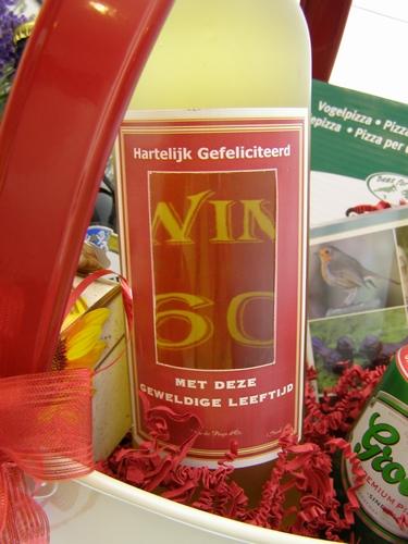 Wijnfles met doorkijkvenster 60 jaar