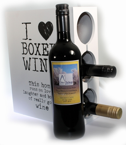 I love Boxed Wine met logo etiket