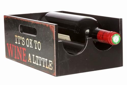 Wijnfles houder kistje met wijn