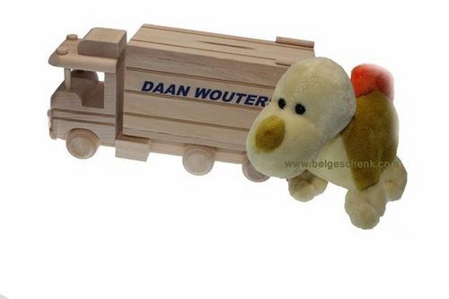 Houten vrachtwagen spaarpot met knuffel