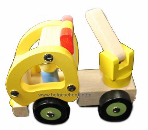 Houten kraanwagen klein