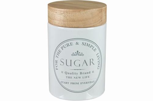 Voorraadpot Suiker met houten deksel