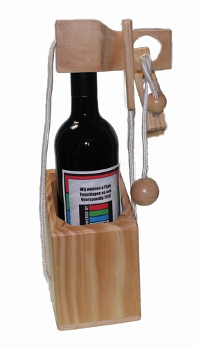 wijnfles puzzel met wijn