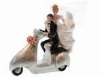 144 stuks Bedankje trouwkoppel op scooter