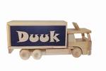Houten vrachtwagen spaarpot met naam